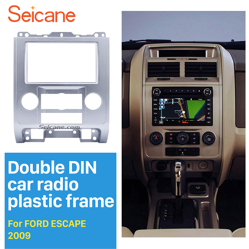 Seicane Silver 2Din Car DVD Radio Fascia Frame Panel for 2007 2008 2009 2010 2011 2012