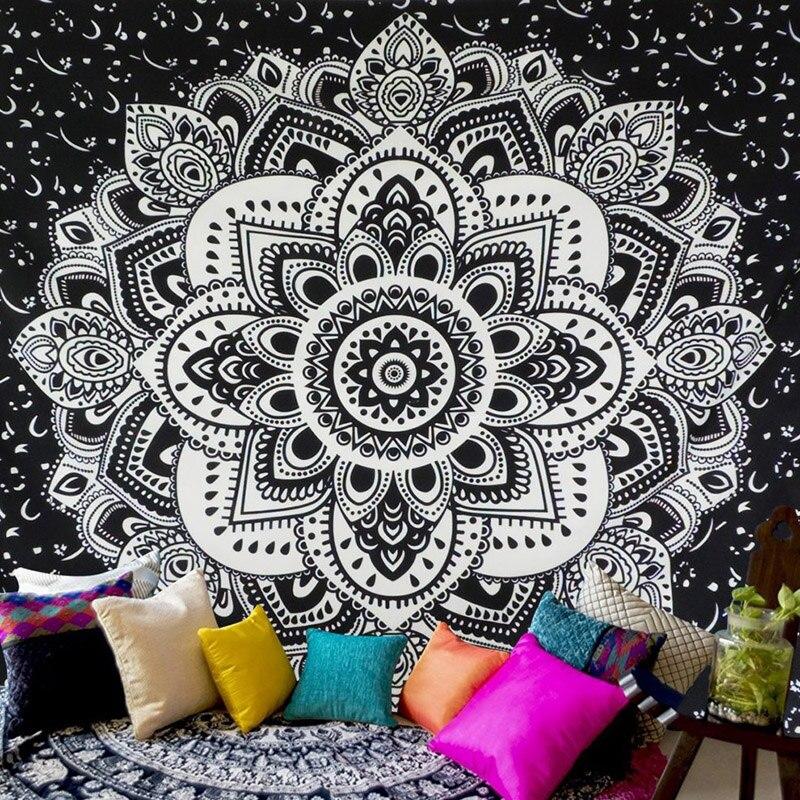 Tapiz para colgar en la pared de la alfombra Floral de la Mandala Bohemia del envío de EE. UU. para decoración de la pared estilo de la tribu de moda