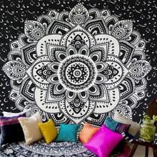 Black and White Indian Mandala Tapestry