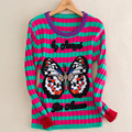 2016 Autumn Winter Women Designing Quality Warm Brand Sweater Long Sleeve Striped Butterfly Embroidery Knitted Fashion Sweaters