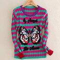 2016 Mujeres Del Invierno Del Otoño El Diseño de Calidad Cálido Suéter de la Marca de Manga Larga A Rayas Bordado de La Mariposa de Punto Suéteres de Moda