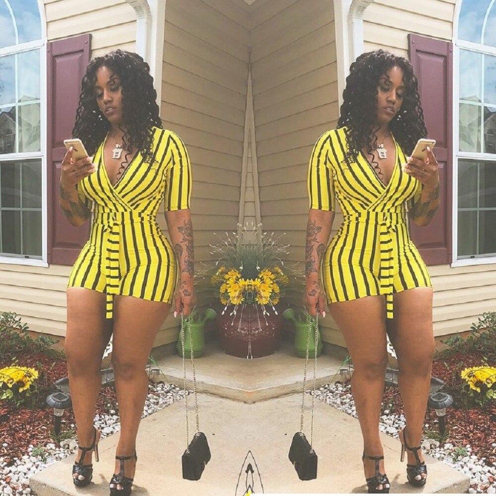 Summer Striped Print Women Bodysuits Deep V Short Sleeve Sexy Bandage Nightclub Playsuits Short Rompers Women Bodycon   Jumpsuits