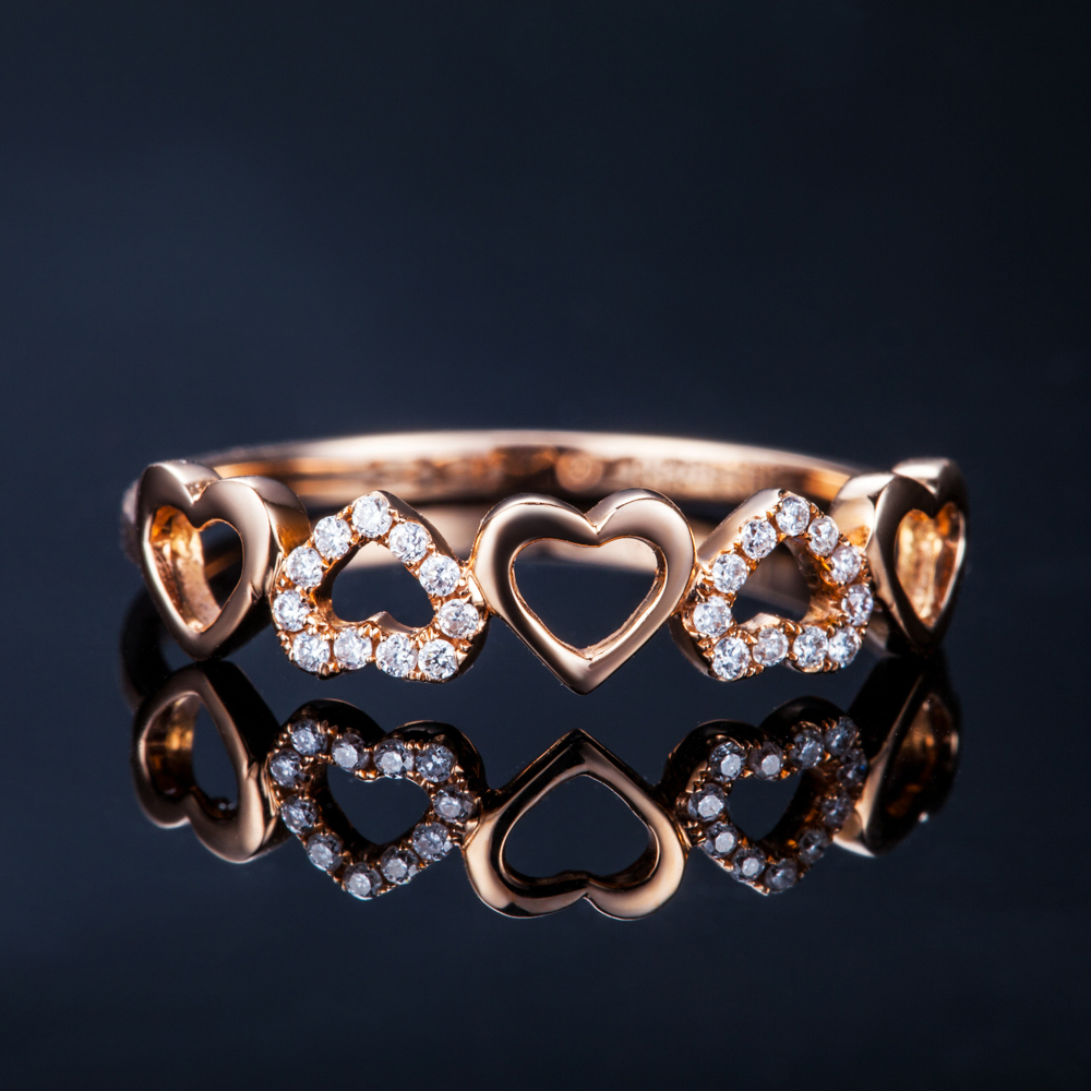 heart shape diamond bridal ring gvbori diamond 18k rose gold engagementwedding ring for women fine jewelry valentine gift in rings from jewelry - Rose Gold Wedding Rings For Women
