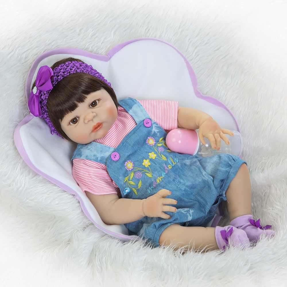 NPK Newborn Baby Doll reborn 55cm 23 Inch Reborn Baby girl Real Life Living Doll Toys Soft Silicone Open Eyes blue sweat