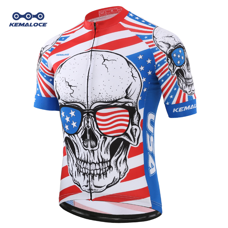 Quick Dry Men Blue USA Cycling Jersey Summer Short Sleeve Skull Bike Shirts Ropa Maillot Ciclismo Race Sport Bicycle Wear Top