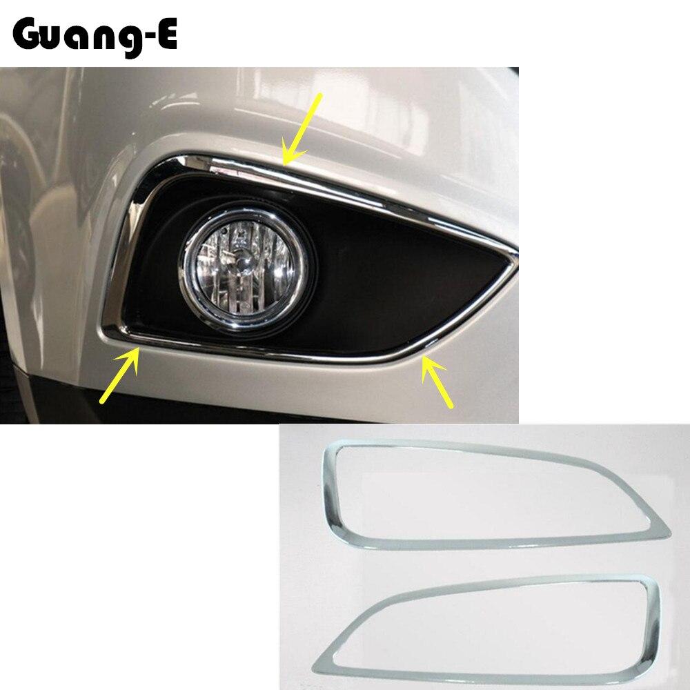 High Quality For Hyundai IX35 2010 2011 2012 car body front fog light lamp detector frame ABS Chrome trim sticks parts 2pcs