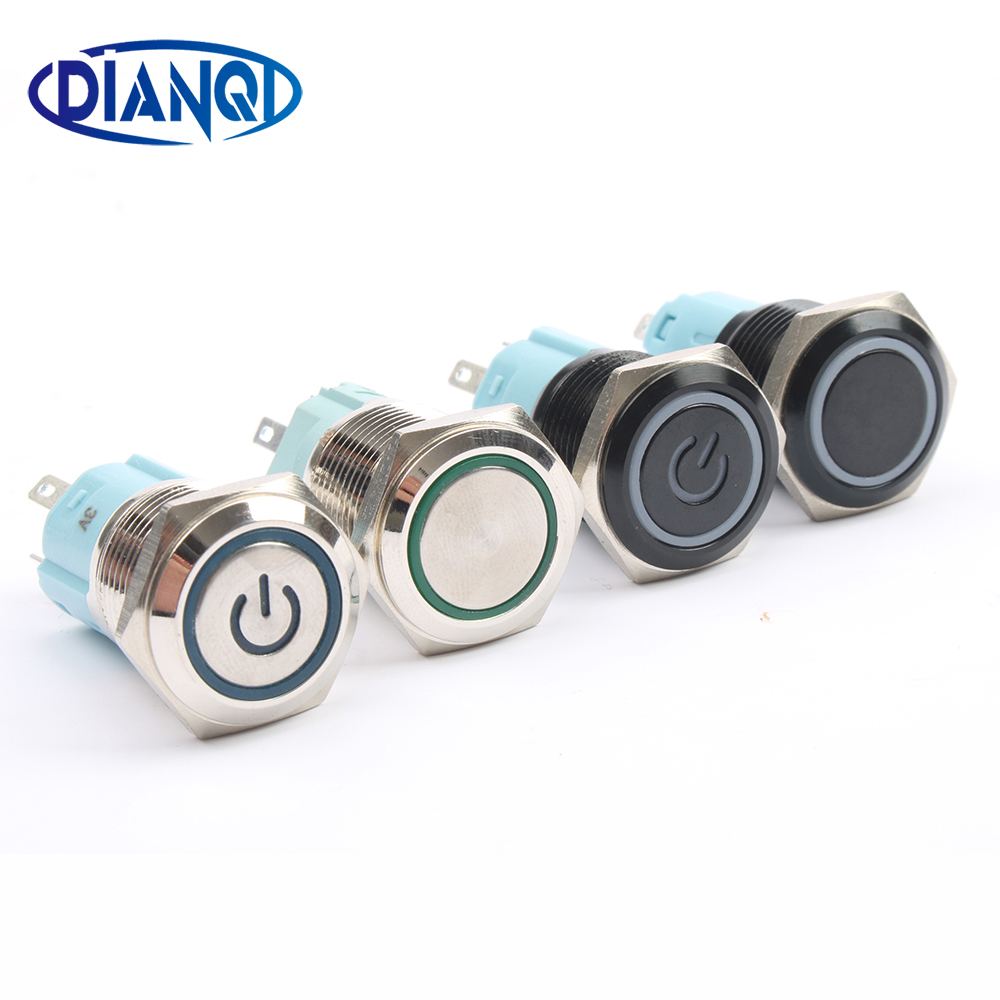 16mm Waterproof Metal Push Button Switch With LED Light  RED BLUE GREEN YELLOW Self-locking And Momentary