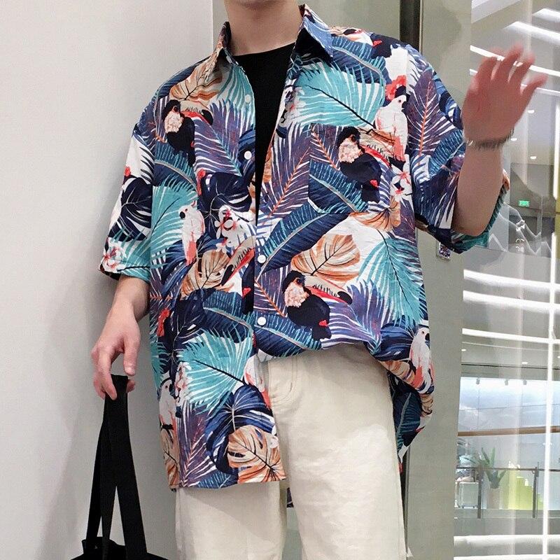 Casual Chiffon Hi-Q Ventilate Breathable Thin Printing Colorized FLOWER Men Loose Shirt 2018 Summer Hawaii Succinct Male Shirt