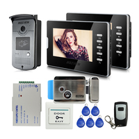 Whole sale Brand New 7 inch Color Video Door Phone Intercom System 2 Monitors + RFID Access Camera Electric Lock FREE SHIPPING