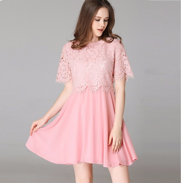 2017Summer ladies Lace chiffon Dress Elegant A line dress juniors ...
