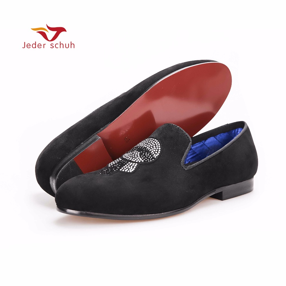 men shoes Handmade Men Velvet shoes smoking slippers with Lagerfeld Rhinestones Fashion Party and Prom Fashion