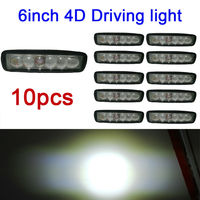 10X 6inch 4D 18W Spot Led Work Light Off Road Light Lamp Fog Driving Light Bar