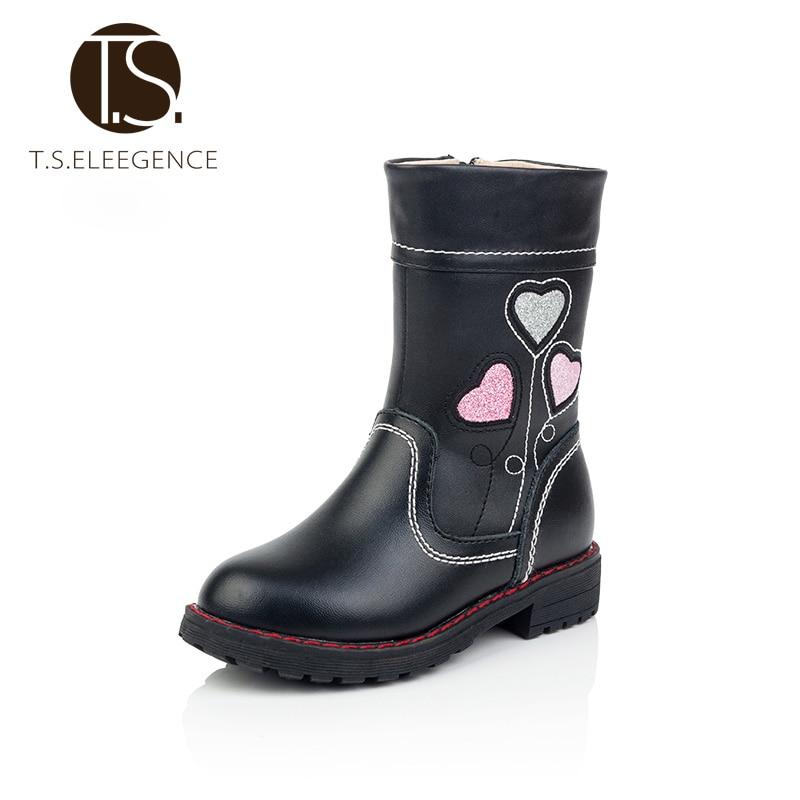 ФОТО size 26-36  New look  sweet style Genuine Leather Big Girls  kids martin  Boots Children Heart  pattern female  teenage Shoes