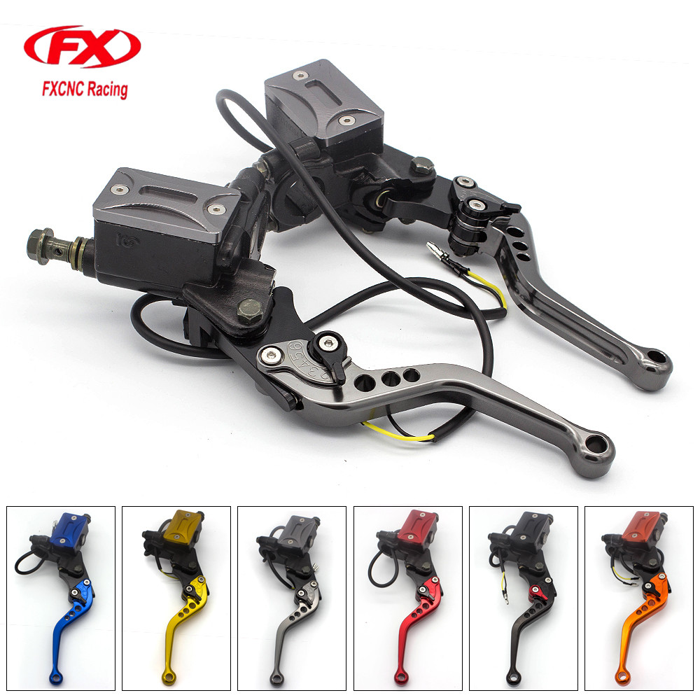 7/8 22MM Universal Adjustable Motorcycle Hydraulic Clutch Brake Levers Master Cylinder Set For Kawasaki 50CC - 300CC Motorcycle universal brake master cylinder levers 7 8 22mm motorcycle brake clutch master cylinder reservoir levers set black new