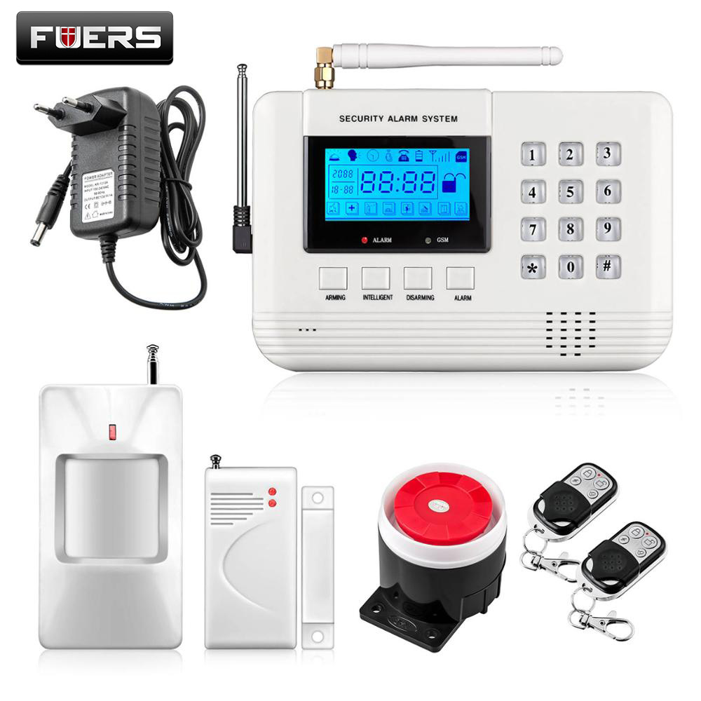Fuers GSM PSTN SIM Home security Alarm system with Keyboard LCD Screen Telephone Wire Connect Alarm system Russian/Spanish Voice yobangsecurity dual network gsm pstn home security alarm system lcd keyboard english spanish russian voice prompt alarm sensor