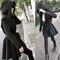 Primavera Mujeres Trench Coat Moda Punk Gótico elegante Gabardina Con Cinturón Plus Size Slim Outwear Encapuchados Trajes Del Cabo