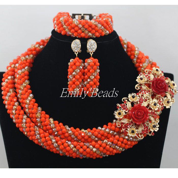 Luxury Orange/Champagne Gold African Beaded Jewelry Set Nigerian Wedding Crystal Beads Necklace Set Free Shpping AMJ668 цена и фото
