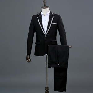 Image 5 - Classic 3 Pieces Suit (Jackets+Pants+Bow Tie) Men Stage Prom Party Mens Gray Dress Suits Singer Wedding DJ Costumes Ternos Homme