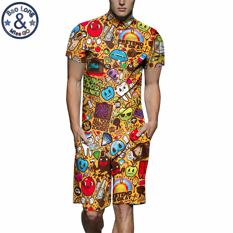 Mens Rompers Cartoon Print 3D Jumpsuits 2019 Summer Men Set Beach Party Short Sleeve Cargo Overalls One Piece Playsuit