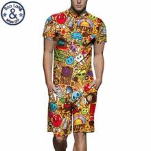 Mens Rompers Cartoon Print 3D Jumpsuits 2019 Summer Men Set Beach Party Short Sleeve Cargo Overalls One Piece Playsuit