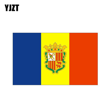 YJZT 12.8CM*7.7CM Styling Andorra Flag Funny Car Sticker Decal Accessories 6-0462 image