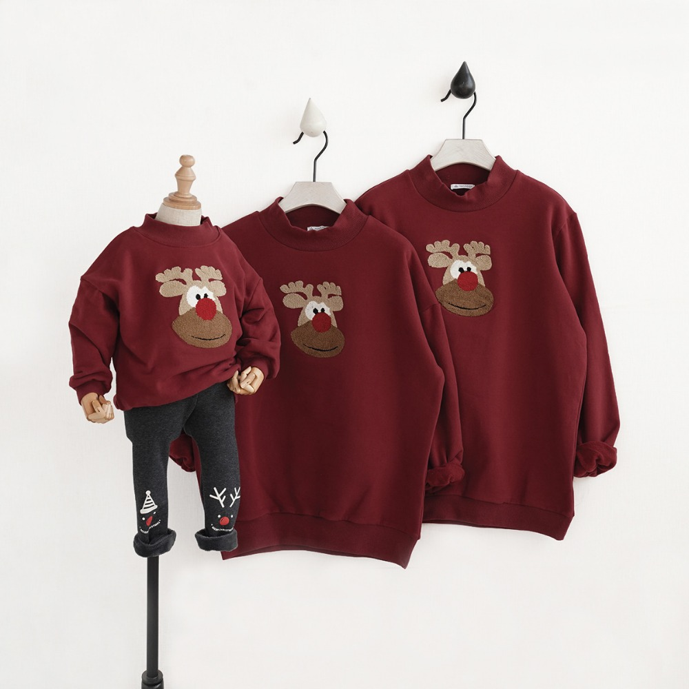 Family matching clothes family look hoodies winter family clothing mother and daughter clothes christmas pajamas family father babar and father christmas