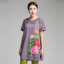 2016 China style peony Hand paint big size women clothing Summer cotton long T shirt lace