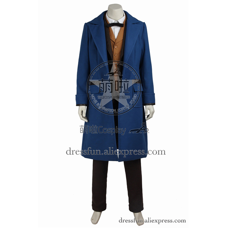 Fantastic Beasts and Where to Find Them Cosplay Costume Newt Scamander Costume Trench Coat Outfits Full Set Dress Fast Shipping