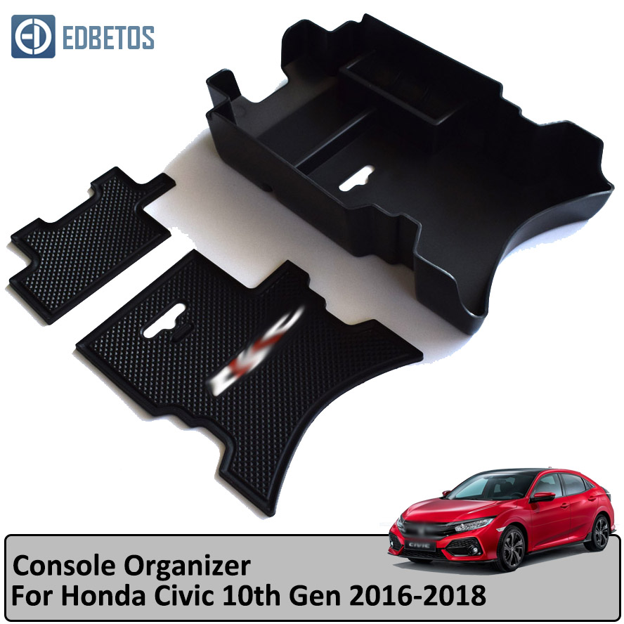 BETOS Car Central Console Storage For Civic Armrest Container Box For Honda Civic 10th Gen 2016 2017 2018 Glove Box Tray Holder