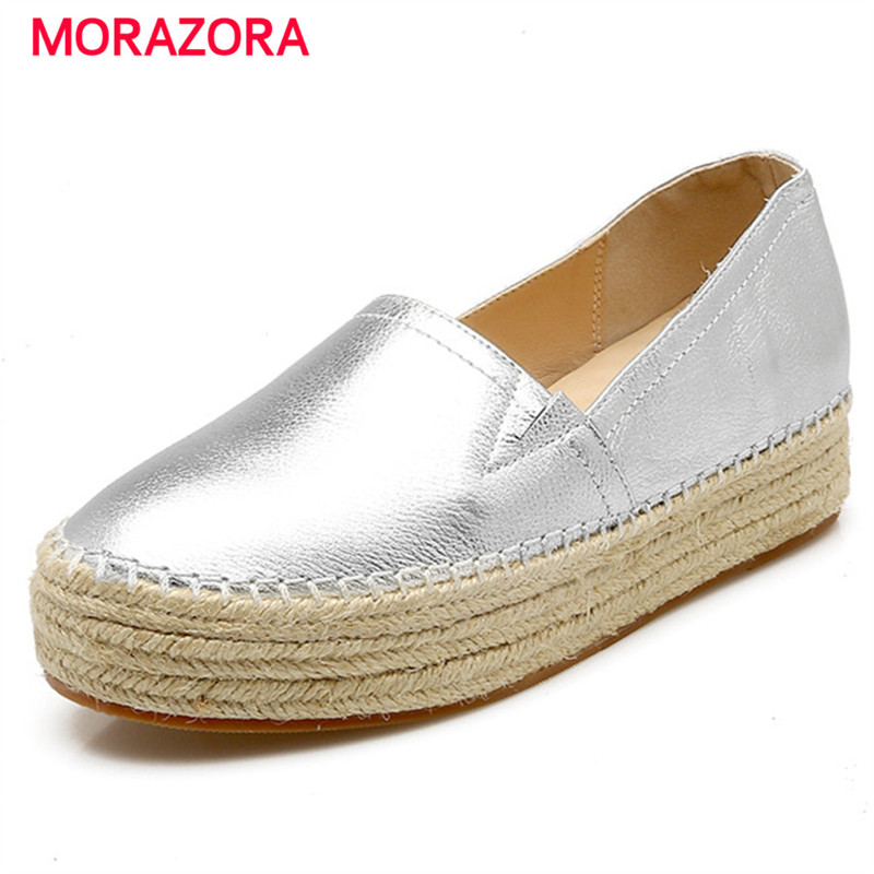 цена на Morazora spring autumn genuine leather flat shoes woman round toe platform fashion casual slip-on women flats gold