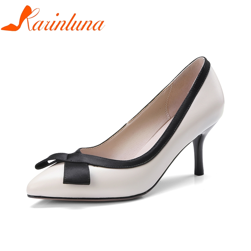KARINLUNA 2018 Genuine Leather Women's Slip On Thin High Heels Pointed Toe Office Party Wedding Pump Shoes Woman Size 33-40 lapolaka 2018 high quality large size 33 48 slip on thin high heels peep toe shoes woman platform party wedding pump