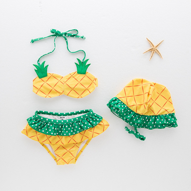 3 Pieces Summer Baby Girl Toddler Swimsuit Fruit Pineapple Yellow Swimming Baby Beach Clothing Set Kids Swimwear Girl glasgow k girl in pieces