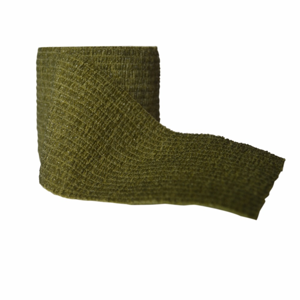 24 Rolls 5cm x 4.5m Army Green Nonwoven Cohesive Tape Self Adhesive Elastic Bandage Sports Support Adherent Strap