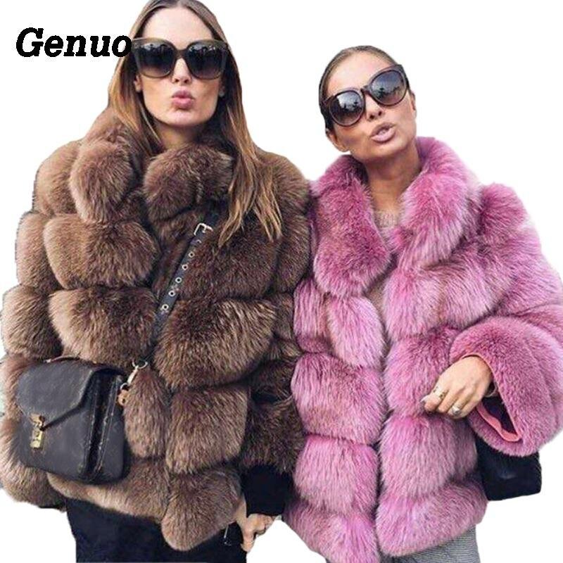 Genuo Thick Warm Winter Faux Fur Coat Women Faux Fox Fur Jacket Autumn Fashion Casual Outerwear