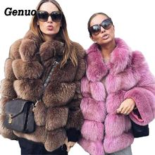 Genuo Thick Warm Winter Faux Fur Coat Women Fox Jacket Autumn Fashion Casual Outerwear Plus Size Overcoat 2018