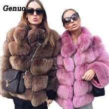цена на Genuo Thick Warm Winter Faux Fur Coat Women Faux Fox Fur Jacket Autumn Fashion Casual Outerwear Plus Size Fur Overcoat 2018