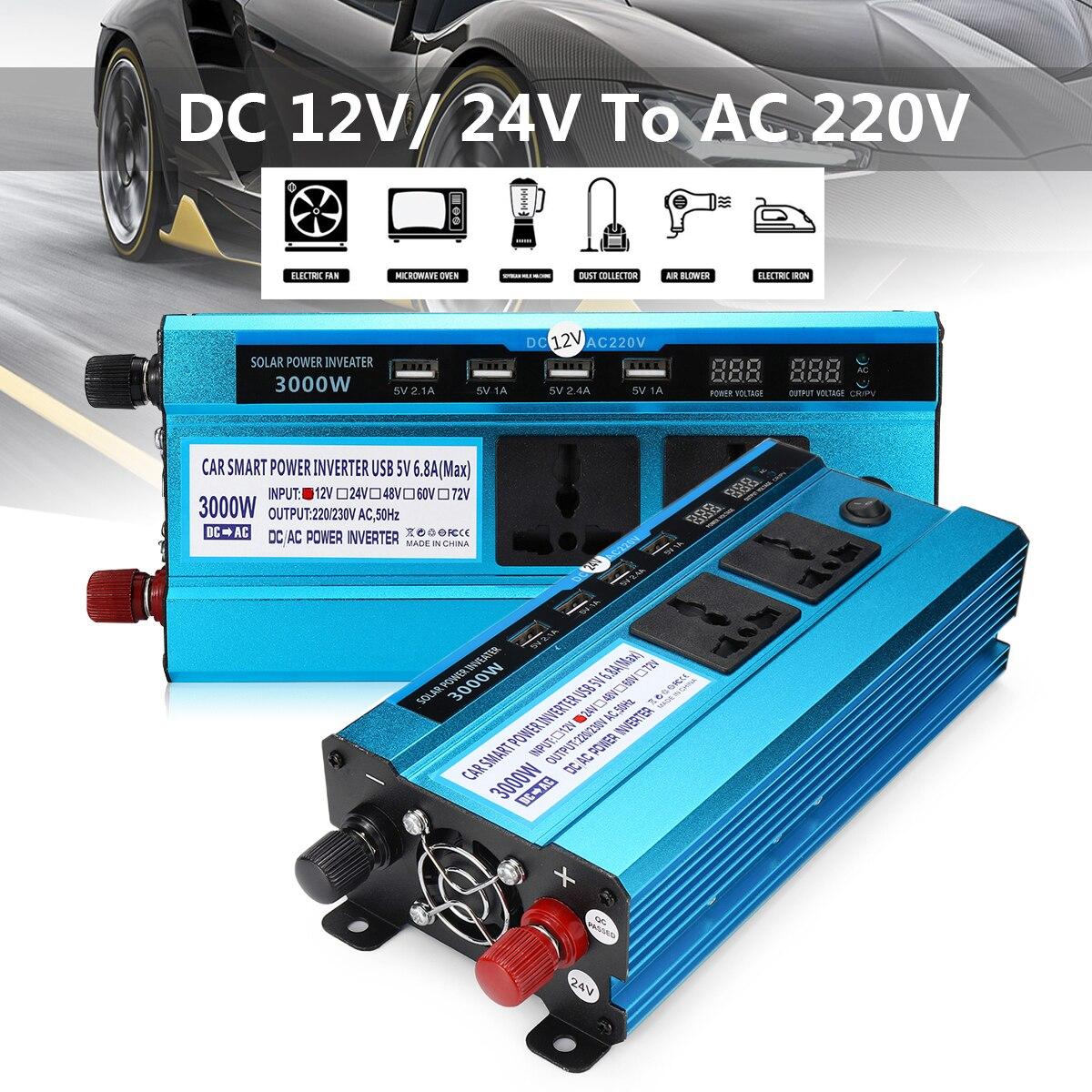LED Peak 3000W Voltage Transformer Solar Power Inverter Car DC 12/ 24V to AC 220V Sine Wave USB Converter Digital Display 1600w автомобильный инвертор 4 usb 12v 24v до 220v dual digital display of protection voltage modefied sine wave car inverter co