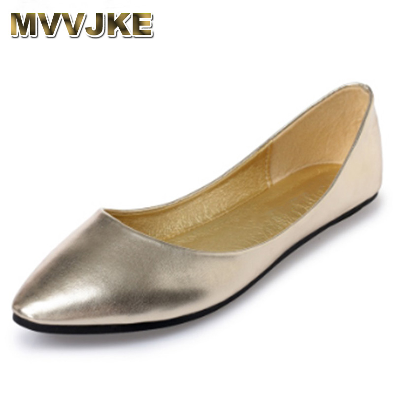 MVVJKE Soft Sole Dace Shoes For Women Ballet Flats Pointed Toe Loafers Breathable Cover Heel Plus Size Slip-On 43  40 Grey Silv