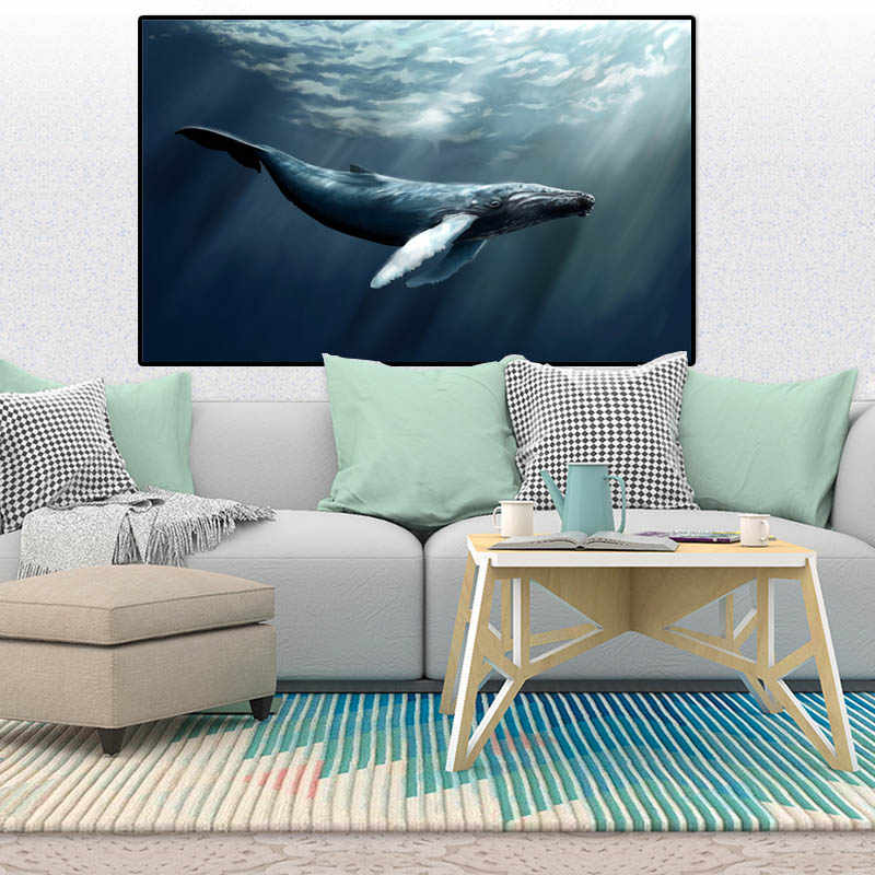Wall Art Canvas Painting Animals Whale Picture Poster Prints Sea Painting Home Decoration Accessories for Bedroom PP103