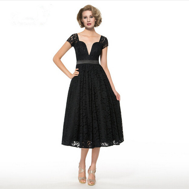 2016 Black Lace Tea Length Mother Of The Bride Dresses A Line Sheer Sleeveless