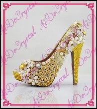 Aidocrystal Neue sommer Peep Toe Gelb Süße starke ferse Sandalen Plattform Dame frauen schuhe mit kristall