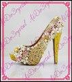 Aidocrystal Nueva Peep Toe de verano Amarillo Dulce Gruesa Plataforma Sandalias de tacón alto de la Señora zapatos de las mujeres con el cristal