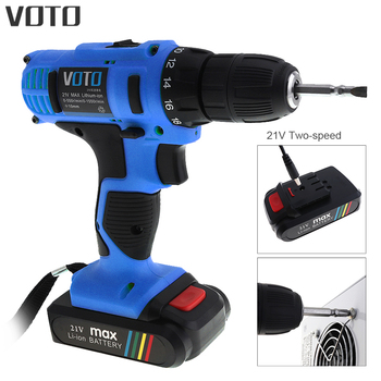 VOTO AC 100 - 240V Cordless 21V Electric Screwdriver with Lithium Battery and Two-speed Adjustment Button for Handling Screws voto ac 100 240v cordless 12v electric drill screwdriver with adjustment switch and two speed adjustment button for punching