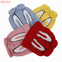ZSJLYLY Model Cotton Child Hat Autumn Winter Knit Boy Woman Printing Hats Child Rabbit Ears Cap Double Thick Heat Youngsters's Caps
