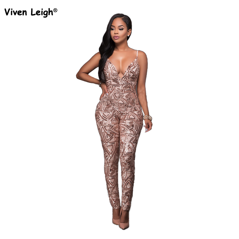 fd7df2669277 New Sexy Backless Macacao Feminino Charming Woman Champagne Black Gold  Geometric Sequin Jumpsuit Bodysuit Fashion Playsuits-in Jumpsuits from  Women s ...