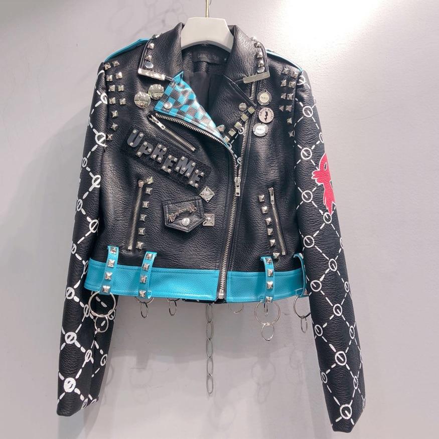 Chic Chain Graffiti Design Faux PU   Leather   Jacket Women Short Zipper Biker Coat 2019 New Arrival Fashion Punk Women Moto Jacket