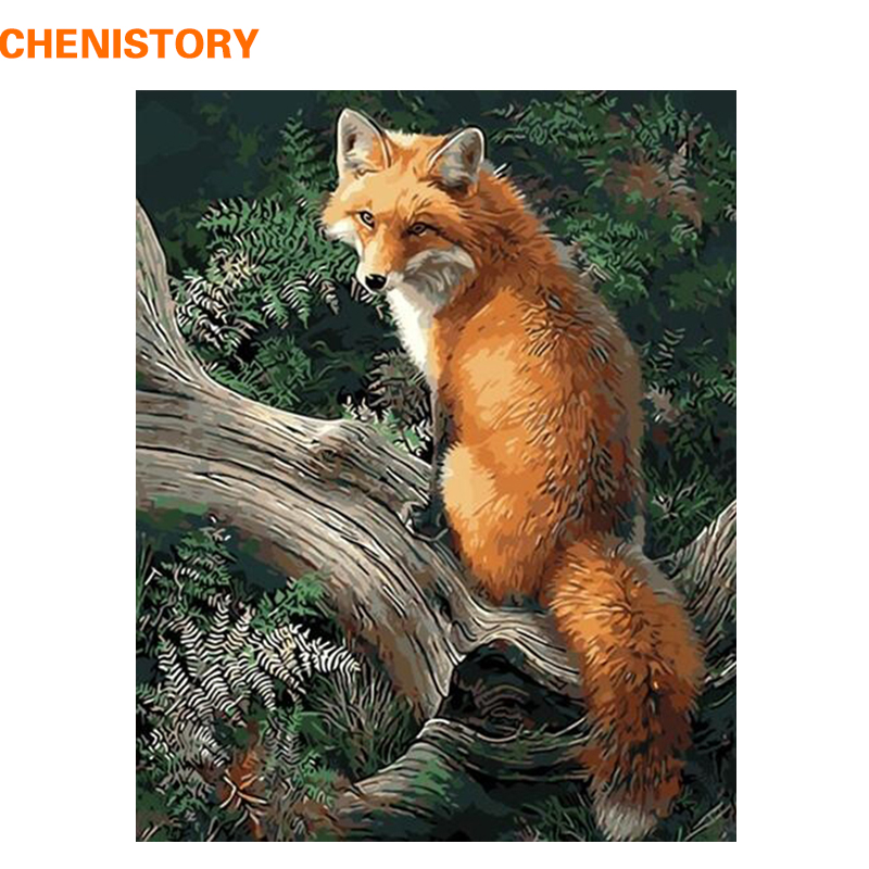 CHENISTORY Fox Animals Diy Digital Painting By Numbers Modern Wall Art Canvas Painting Farba akrylowa Wyjątkowy prezent na wystrój domu