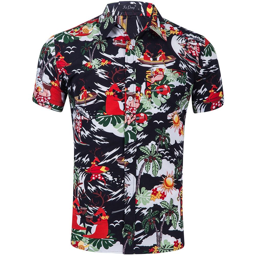 Hot sale 2018 Men Shirt Long Sleeve Fashion Floral Printing Male Shirts Brand Clothing Casual shirt Man camisa masculina 2XL