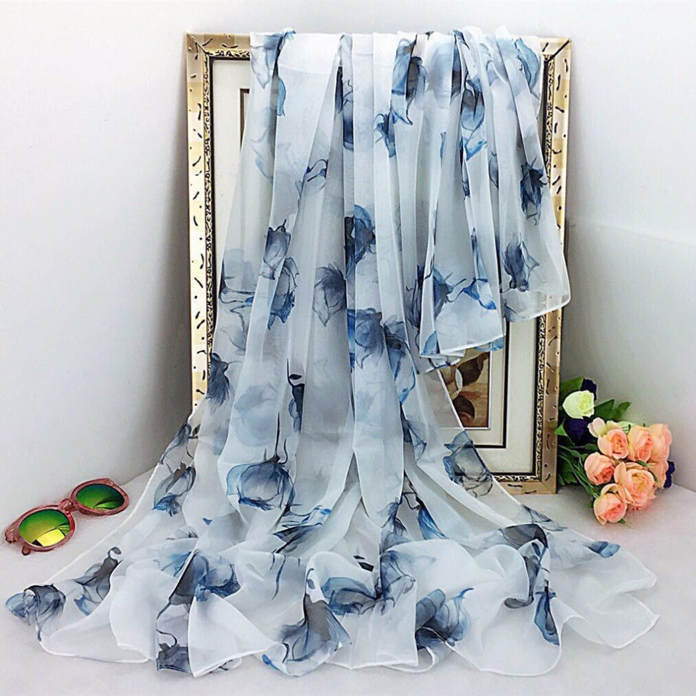 Oversize Sunscreen Pareo Beach Shawl Summer Chiffon Flower Prints Silk Scarf Women Femme Scarves Bandanna Ladies Foulard Female