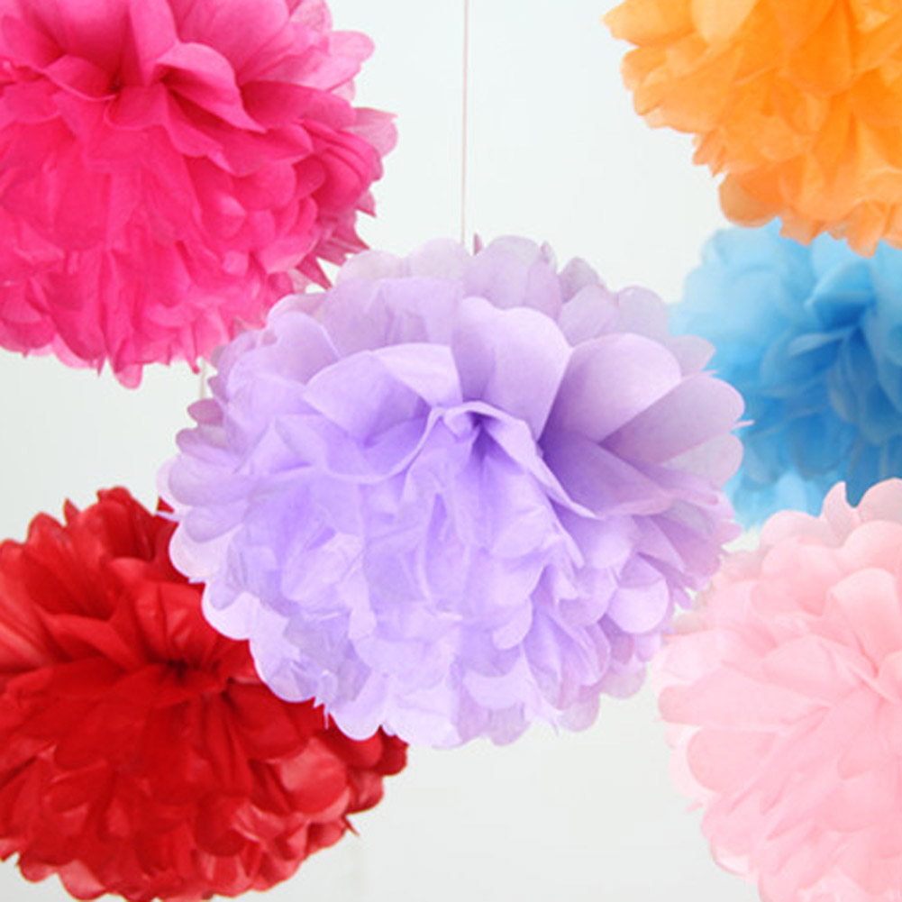 Random Color Tissue Paper Pom Poms Paper Flower Ball Pompom For Home